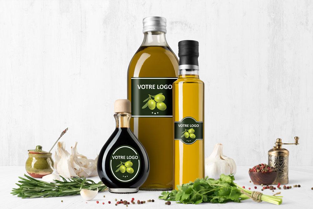 Etiquette bouteille huile